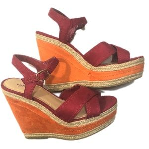 Express Shoes - Women's Express Orange Pink Wedge Sandals size 7